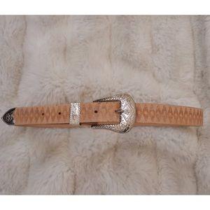 Vintage Tan Western Silver Buckle Belt